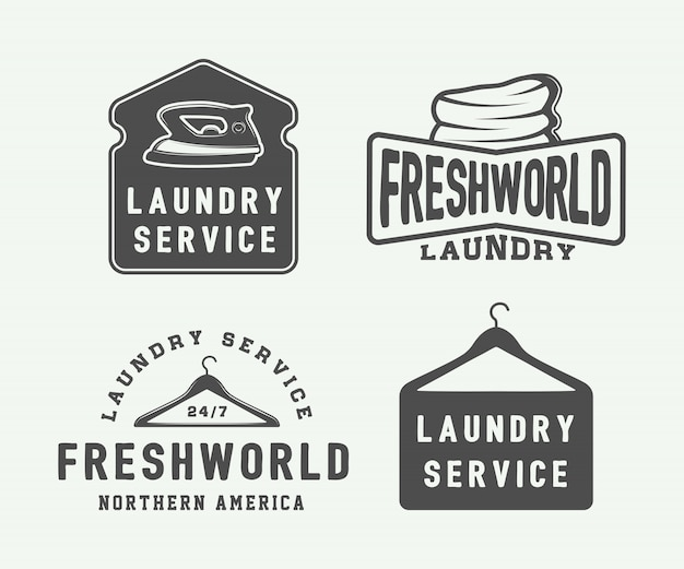 Lavanderia, emblemas de limpeza Vetor Premium