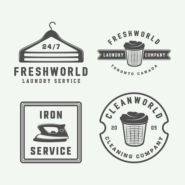 Lavanderia, logotipos de limpeza Vetor Premium