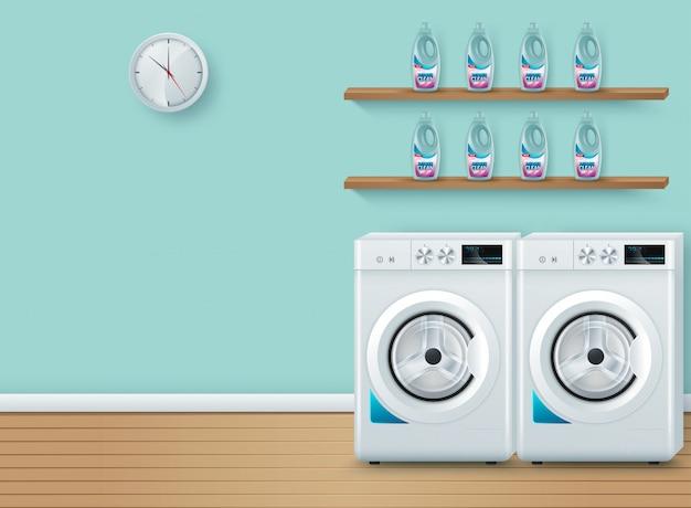 Lavanderia no azul Vetor Premium