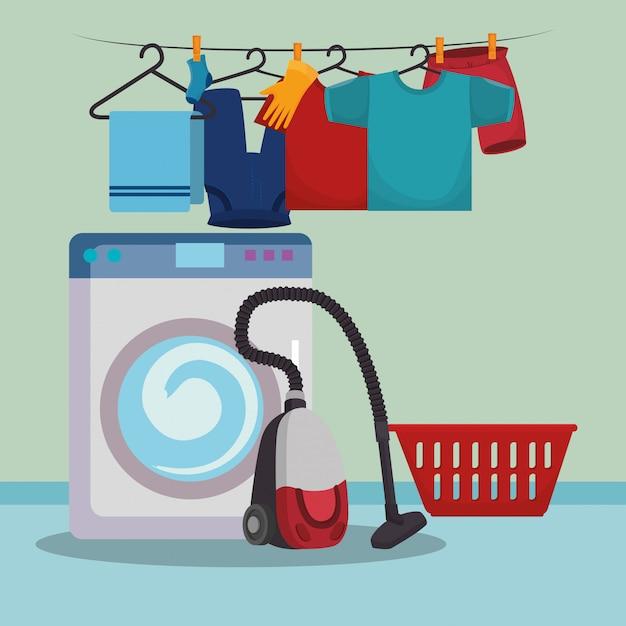 Lavar a máquina com ícones de serviço de lavandaria Vetor grátis