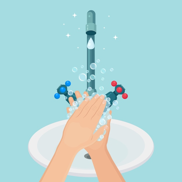 Lavar as mãos com espuma de sabão, bolhas de gel. torneira de água, vazamento de torneira. higiene pessoal, rotina diária Vetor Premium