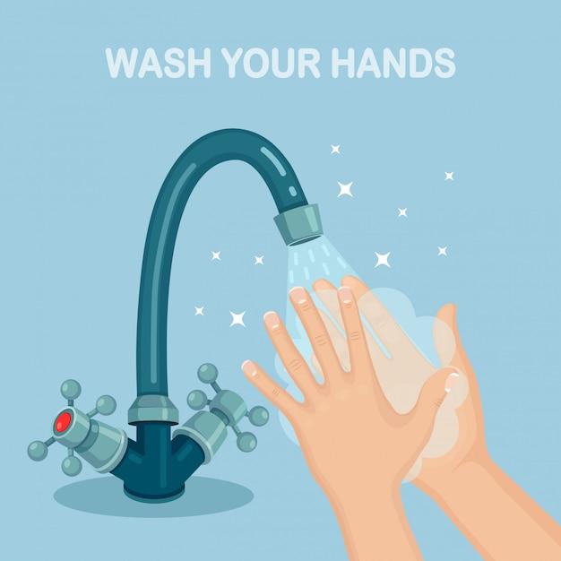 Lavar as mãos com espuma de sabão, esfregar, bolhas de gel Vetor Premium