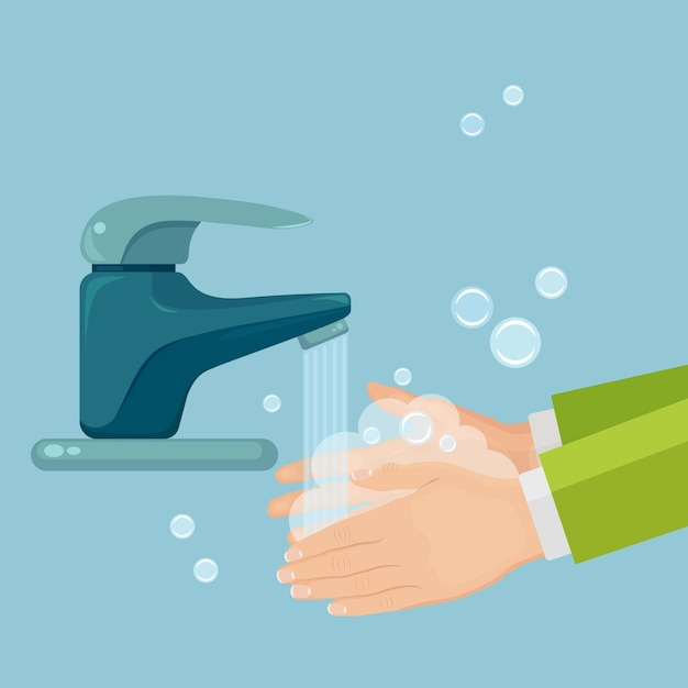 Lavar as mãos com espuma de sabão, esfregar, fazer bolhas de gel. torneira de água, vazamento de torneira. higiene pessoal, conceito de rotina diária. corpo limpo Vetor Premium