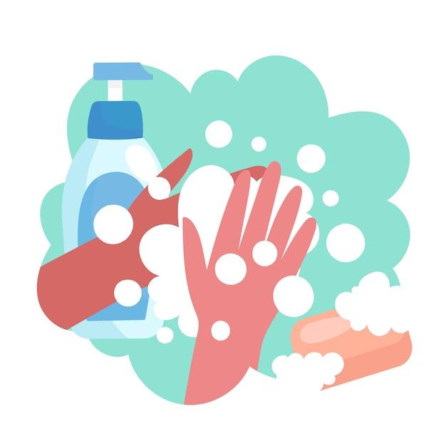 Lave as mãos com as pontas Vetor grátis