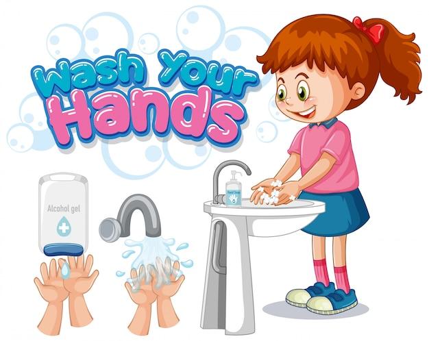 Lave as mãos design de cartaz com menina lavando as mãos Vetor grátis