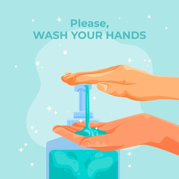 Lave o seu conceito de mãos Vetor grátis