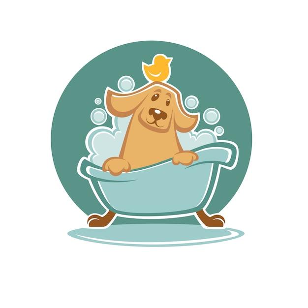 Lave seu animal de estimação, cachorro engraçado dos desenhos animados tomando banho na banheira Vetor Premium