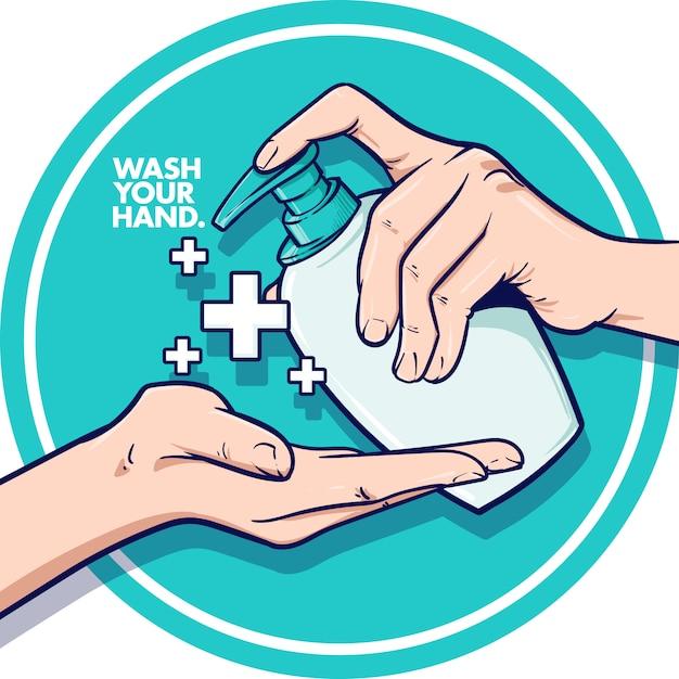 Lave sua mão Vetor Premium
