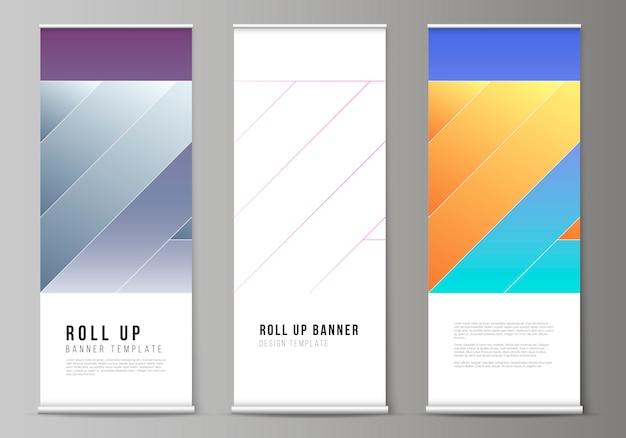 Layout de arregaçar suportes de banner, folhetos verticais Vetor Premium