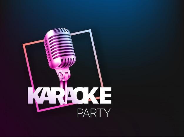 Layout de banner de festa de karaoke. Vetor Premium