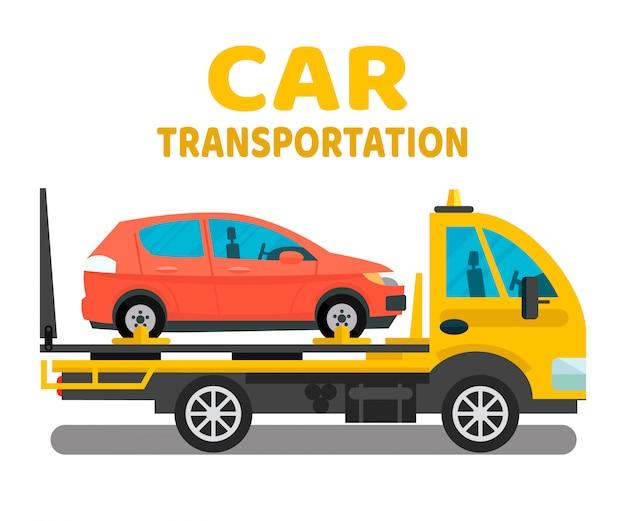 Layout de banner plana de negócios de transporte de carro Vetor Premium