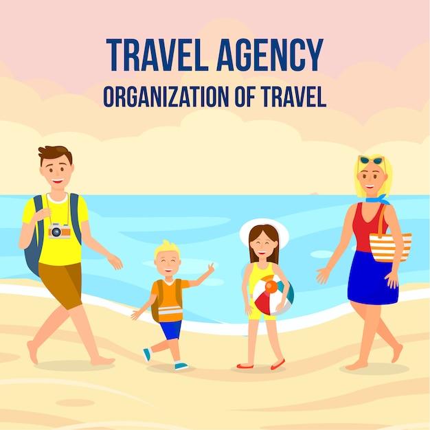 Layout de banner quadrado de agência de viagens com letras Vetor Premium