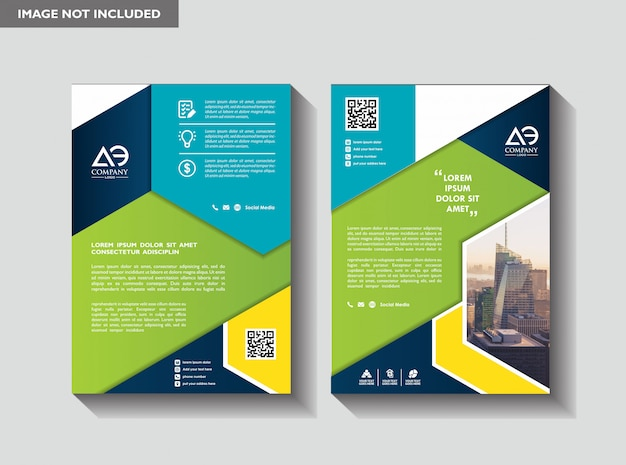 Layout de brochura comercial Vetor Premium