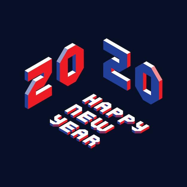 Layout de design 2020 feliz ano novo com letras isométricas em estilo geométrico Vetor Premium