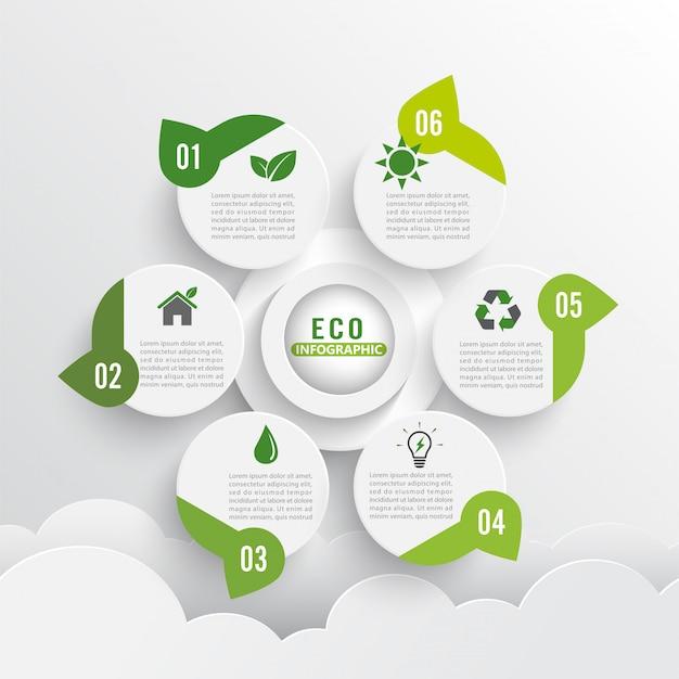 Layout de design de ecologia verde moderno infográficos 6 opções. Vetor Premium