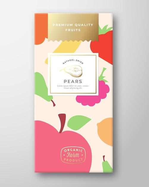 Layout de design de embalagem de etiqueta de frutas secas. Vetor Premium