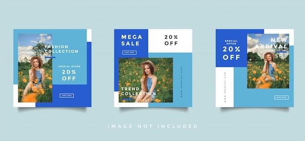 Layout de design de promoção de mídia social de moda Vetor Premium