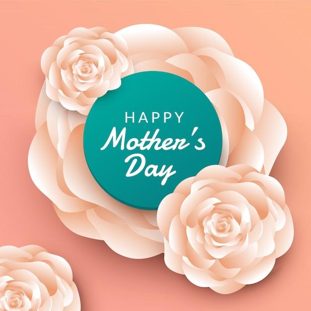 Layout de dia das mães feliz com rosas, letras, corte de papel e fundo de textura. ilustração. Vetor Premium