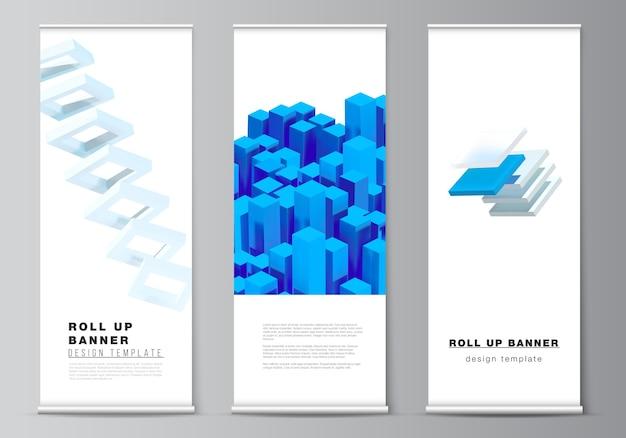 Layout de enrolar modelos de design para folhetos verticais, modelos de design de bandeiras, suportes de banner, publicidade 3d render composição com formas azuis geométricas realistas dinâmicas. Vetor Premium