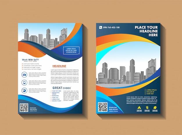 Layout de folheto capa moderna com fundo da cidade Vetor Premium