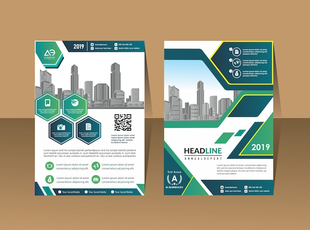 Layout de folheto de capa de negócios Vetor Premium
