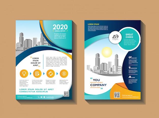 Layout de folheto moderno para relatório anual com a cidade Vetor Premium