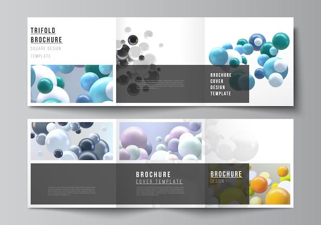 Layout de formato quadrado cobre modelos para brochura com três dobras Vetor Premium