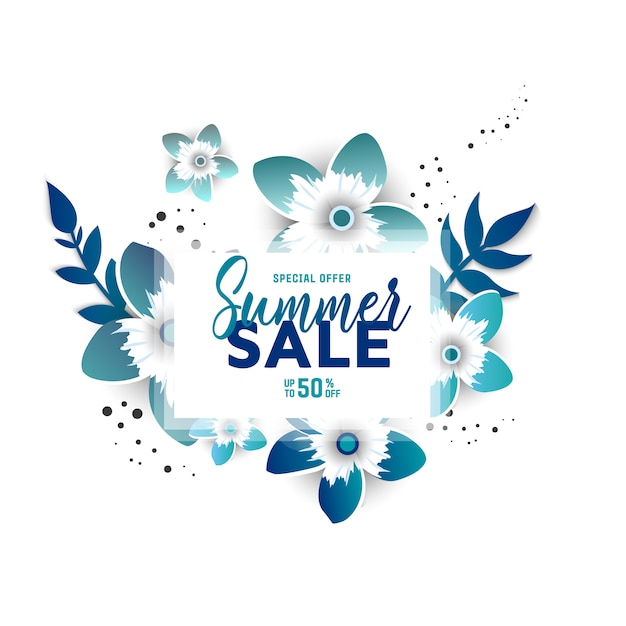 Layout de fundo de venda de verão para banners com flores Vetor Premium