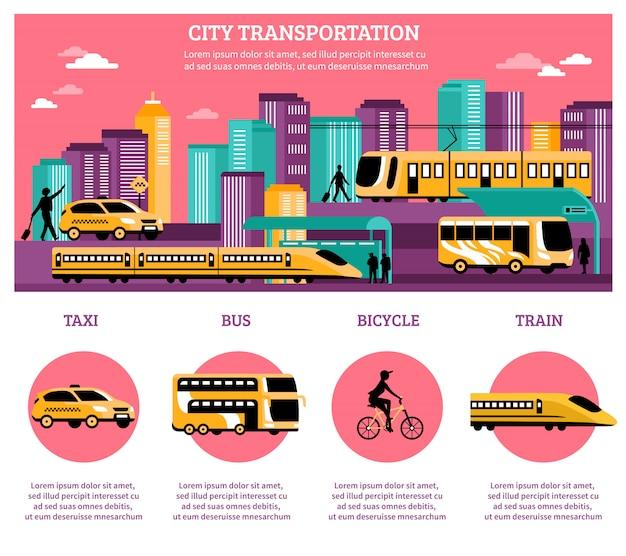 Layout de infográficos de transporte de cidade Vetor grátis