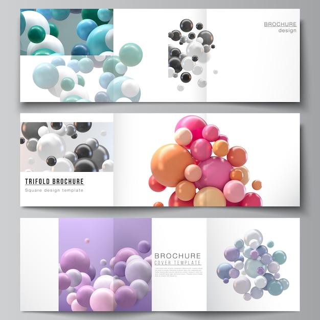Layout de modelos de capas quadradas para brochura com três dobras, folheto, revista, design de capa, design de livro. fundo futurista abstrato com esferas 3d coloridas, bolhas brilhantes, bolas. Vetor Premium