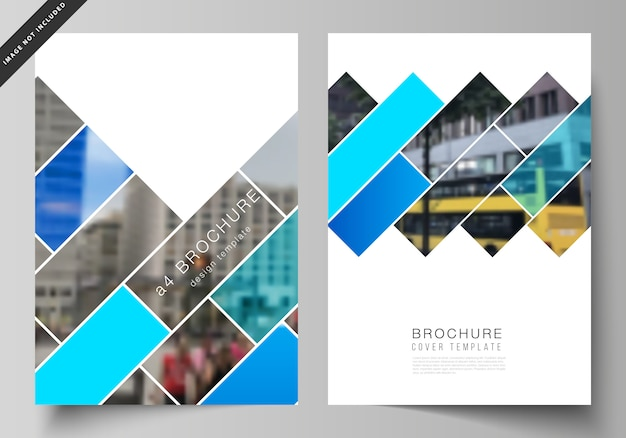 Layout de modelos de maquetes de capa moderna de formato a4 para brochura Vetor Premium