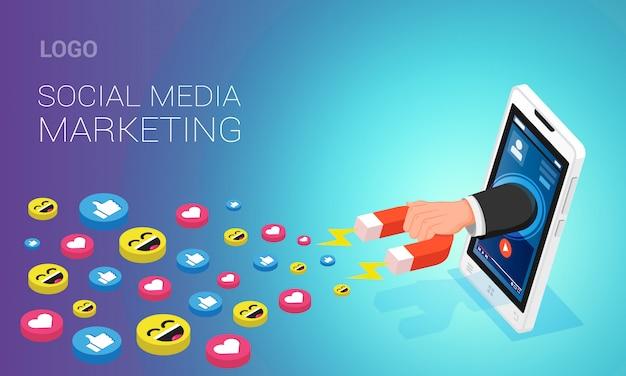 Layout de página de destino de marketing de mídia social. mão humana atraindo gostos na tela do telefone móvel com a ajuda de ímã, ilustração isométrica Vetor Premium