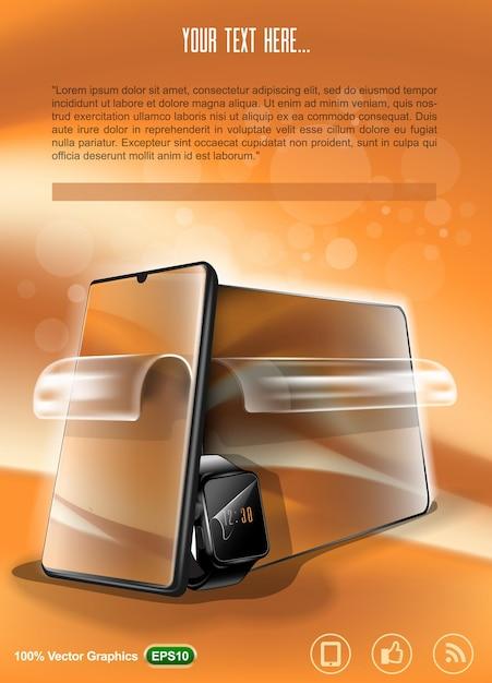 Layout de publicidade de uma película protetora para ilustração de dispositivos móveis Vetor Premium