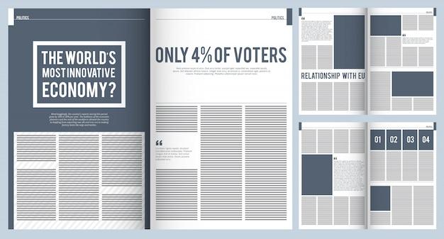 Layout de revista. modelo de maquete de design de capa de brochura de propaganda revista moderna com lugar para projeto de texto e fotos Vetor Premium