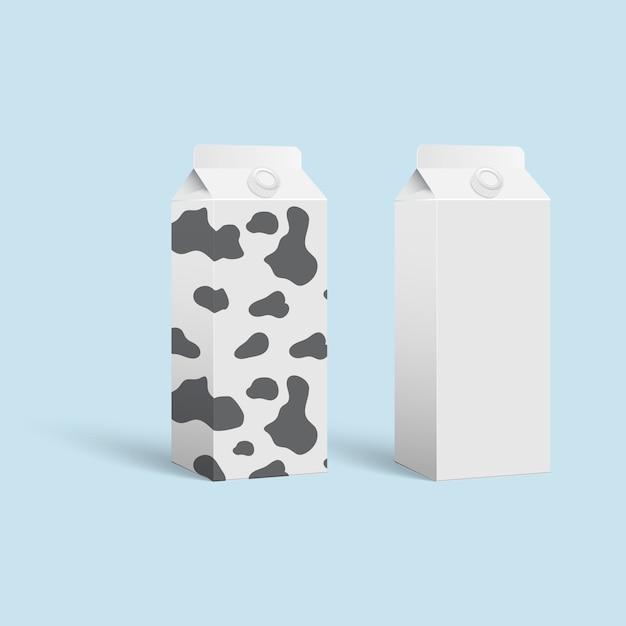 Layout de vetor de embalagem de leite. Vetor Premium