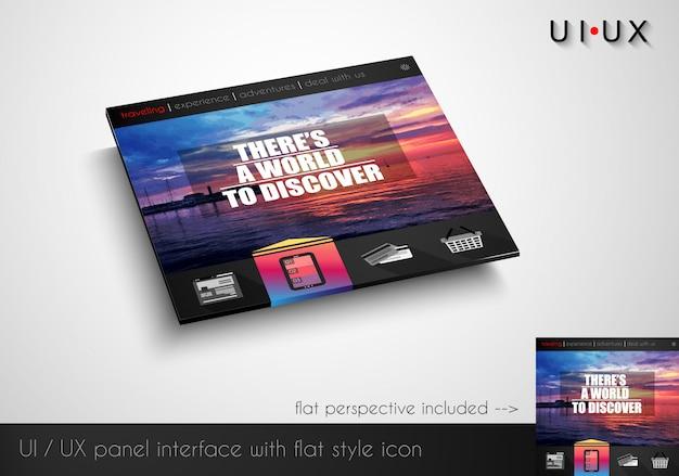 Layout do painel de webite moderno estilo simples com ícones Vetor Premium