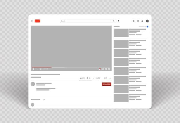 Layout do player de vídeo da web modelo de quadro de vídeo Vetor Premium