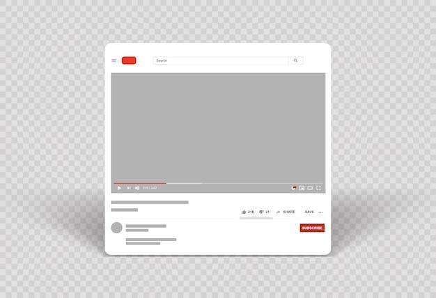 Layout do reprodutor de vídeo modelo video frame móvel Vetor Premium