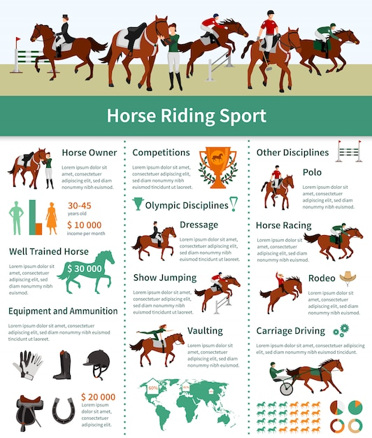 Layout plana de infográficos de cavalo subindo com transporte de rodeio, dirigindo a publicidade de abóbada de adestramento Vetor grátis