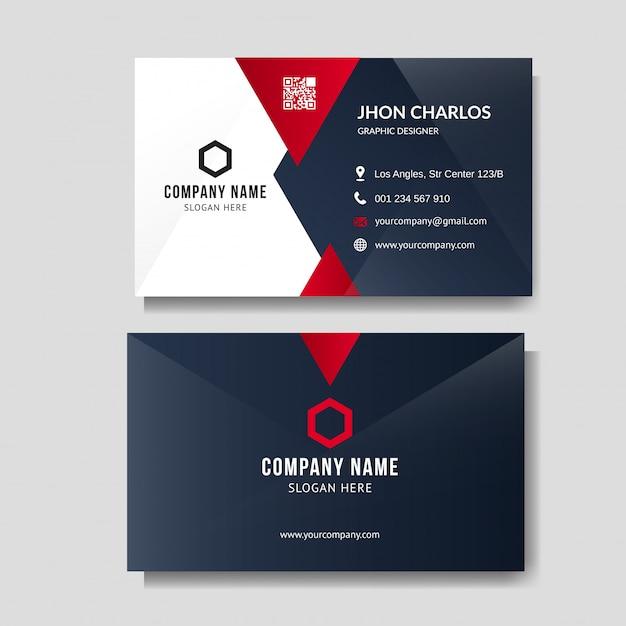 Layout profissional de cartão vermelho Vetor Premium