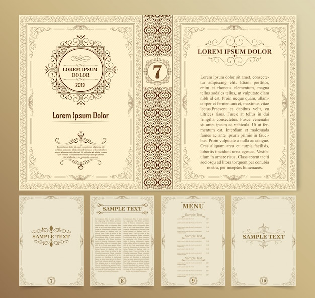 Layouts de livros vintage e design Vetor Premium