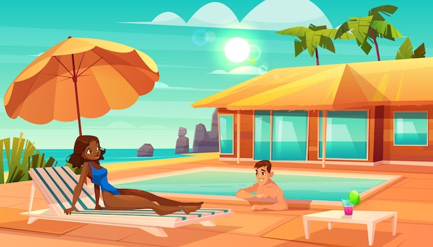 Lazer no vetor de desenhos animados resort tropical. Vetor grátis