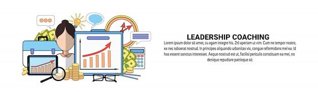 Leadership coaching web banner template conceito de formação profissional de negócios Vetor Premium
