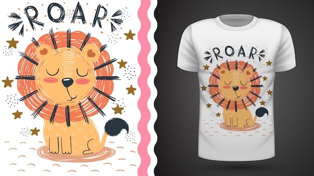 Leão bonito, ideia para impressão t-shirt Vetor Premium