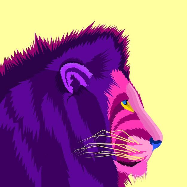 Leão colorido do estilo de conceito roxo pop art Vetor Premium