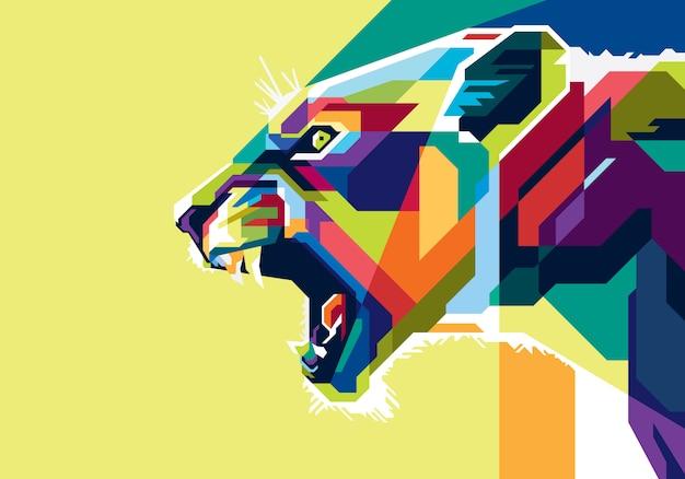 Leão colorido Vetor Premium