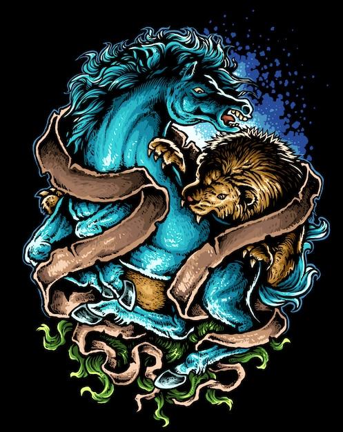Leão contra cavalo tatuagem desenho ilustração vetorial Vetor Premium