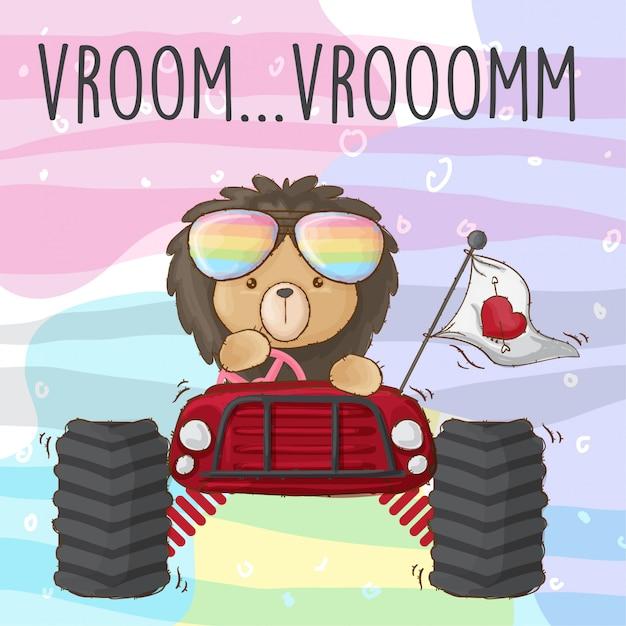 Leão de bebê no carro Vetor Premium