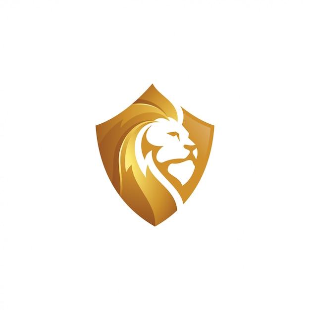 Leão de ouro leão e escudo ícone do logotipo Vetor Premium