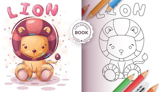 Leão de pelúcia - livro de colorir para crianças Vetor grátis